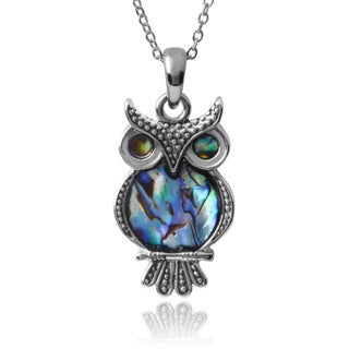 Journee Collection Owl Shell Accent Pendant