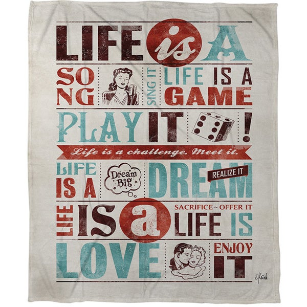 Life Is Coral Fleece Throw