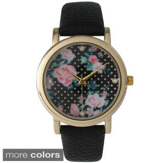 Olivia Pratt Women's Polka Dot & Roses Leather Band Watches