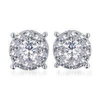 Divina 14k White Gold 1 1/2ct TDW Diamond Unity Earrings (H-I, I2-I3)