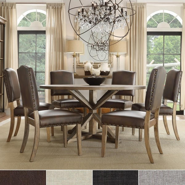 Shop Benchwright Rustic X Base 48 Inch Round Dining Table: Benchwright Rustic X-base Round Pine Wood Nailhead 7-piece