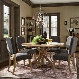 Benchwright Rustic X-base Round Pine Wood Nailhead 7-piece Dining Set by iNSPIRE Q Artisan