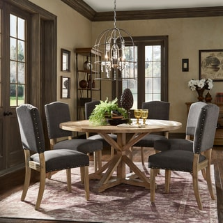 Benchwright Rustic X Base Round Pine Wood Nailhead 7 Piece Dining Set By  INSPIRE