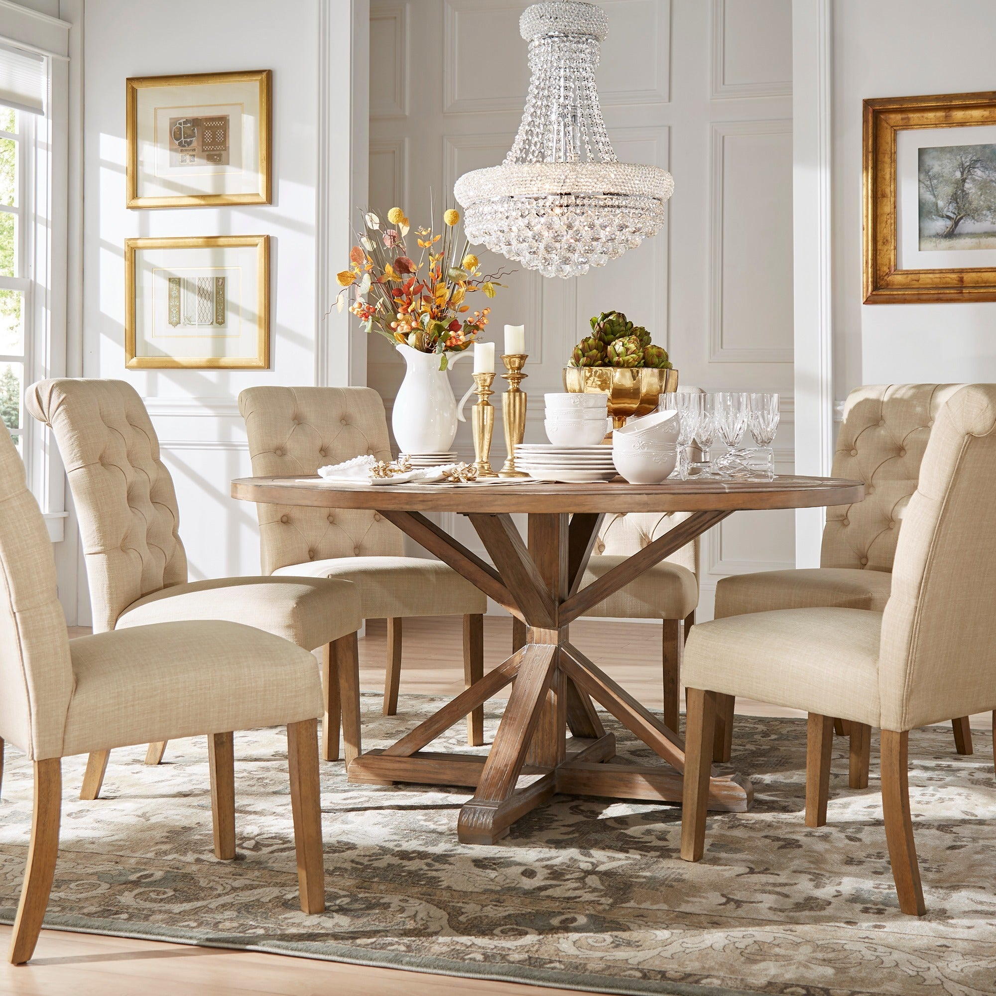 Benchwright Rustic X Base Round Pine Wood Rolled Back 7 Piece Dining Set By