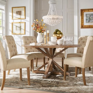 Benchwright Rustic X-base Round Pine Wood Rolled Back 7-piece Dining Set by iNSPIRE Q Artisan