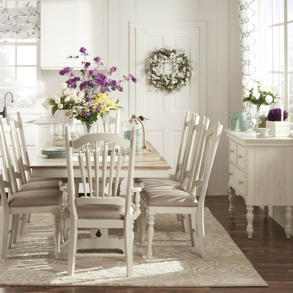 McKay Country Antique White Pedestal Extending Dining Set by iNSPIRE Q Classic