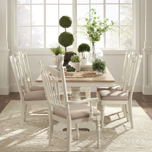 McKay Country Antique White Pedestal Extending Dining Set By INSPIRE Q  Classic   Free Shipping Today   Overstock.com   17228682