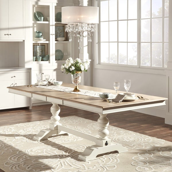 Shop McKay Country Antique White Pedestal Extending Dining Table By - White pedestal table with leaf