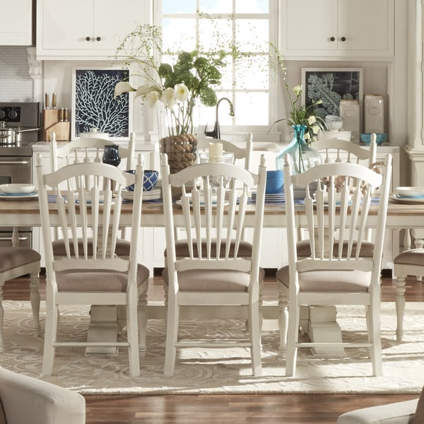 Shop Mckay Country Antique White Slat Back Dining Chair