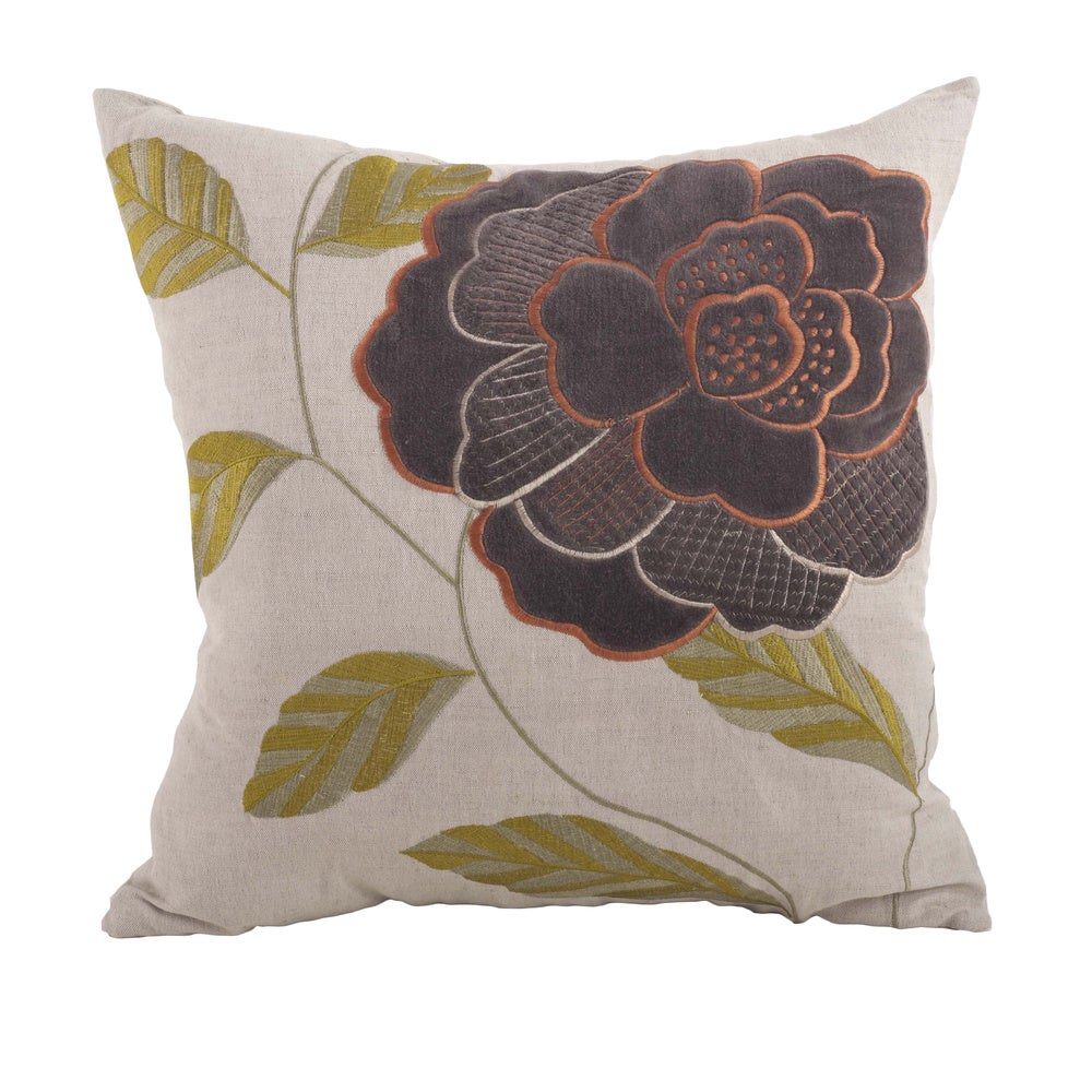 Shop Embroidered Flower 18-inch Down Filled Throw Pillow - Overstock - 10085859