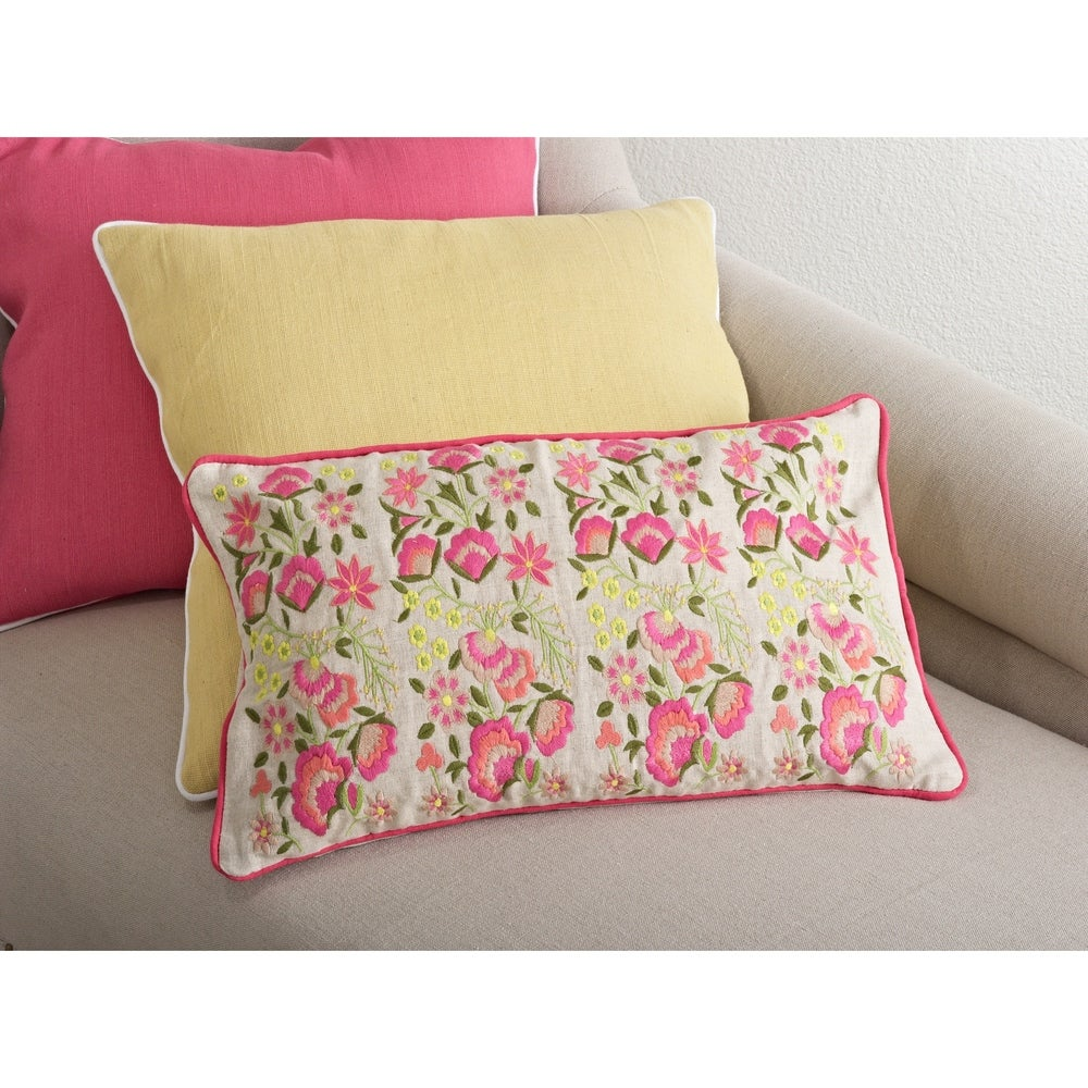 Shop Embroidered Flower Down Filled Throw Pillow - Overstock - 10085860