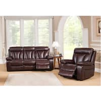 Zenith Brown Top Grain Leather Power Motorized Lay-flat Reclining Sofa, and Recliner