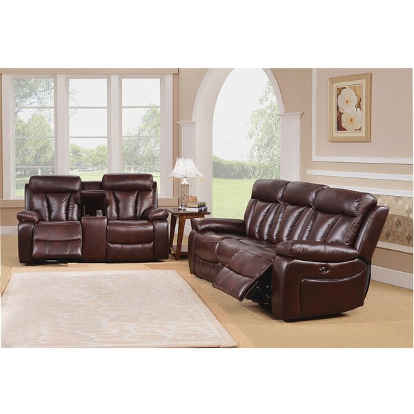 grain leather power motorized lay flat reclining sofa and loveseat