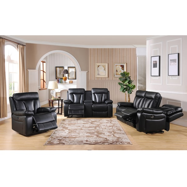 Vedder Black Top Grain Leather Power Motorized Lay Flat Reclining Sofa,  Loveseat, And