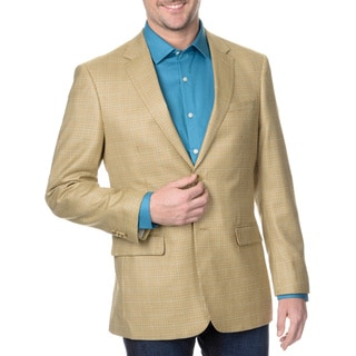 Prontomoda Italia Men's Tan Houndstooth Blazer
