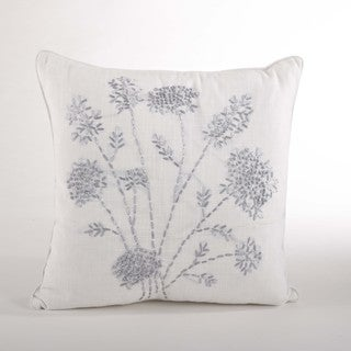 Ribbon Embroidered 20-inch Down Filled Throw Pillow