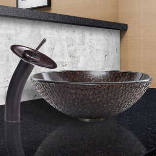 VIGO Copper Shield Glass Vessel Sink and Waterfall Faucet Set in Antique Rubbed Bronze Finish