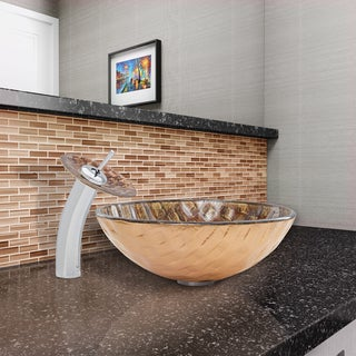 VIGO Playa Glass Vessel Sink and Waterfall Faucet Set in Chrome Finish