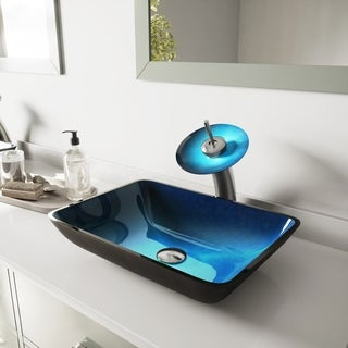 VIGO Rectangular Turquoise Water Glass Vessel Sink and Waterfall Faucet Set in Brushed Nickel Finish