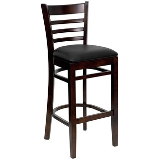Dark Brown Wood Bar Stool