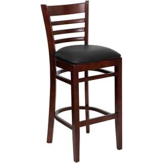 Dark Brown Wood Restaurant Upholstery Bar Stool