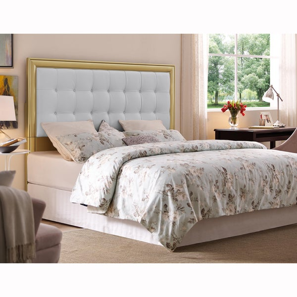 Gold And White Queen Full Size Upholstered Tufted Headboard