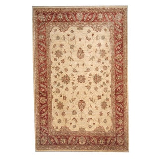 Herat Oriental Afghan Hand-knotted Oushak Ivory/ Rust Wool Rug (6' x 9'1)