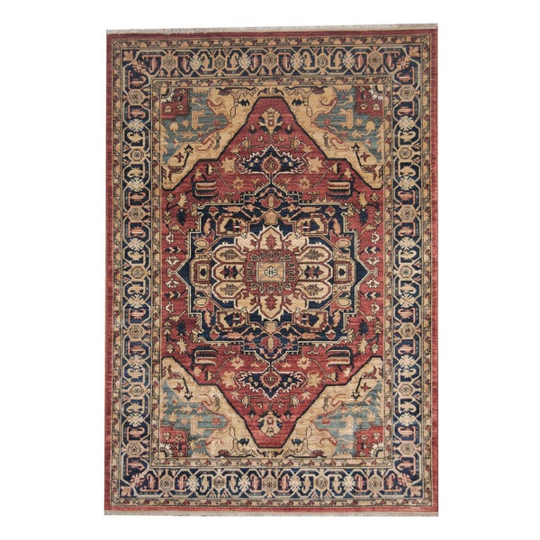 Herat Oriental Hand Tufted Wool Red Black Area Rug: Shop Herat Oriental Afghan Hand-knotted Serapi Wool Rug (6