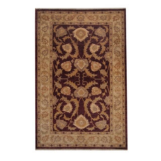 Herat Oriental Afghan Hand-knotted Oushak Burgundy/ Beige Wool Rug (5'9 x 8'9)