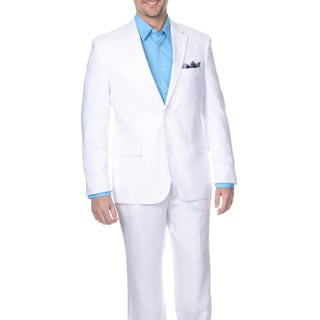 Reflections Men's Slim White 2-button Linen Suit