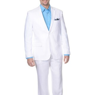 Reflections Men's White 2-button Linen Suit