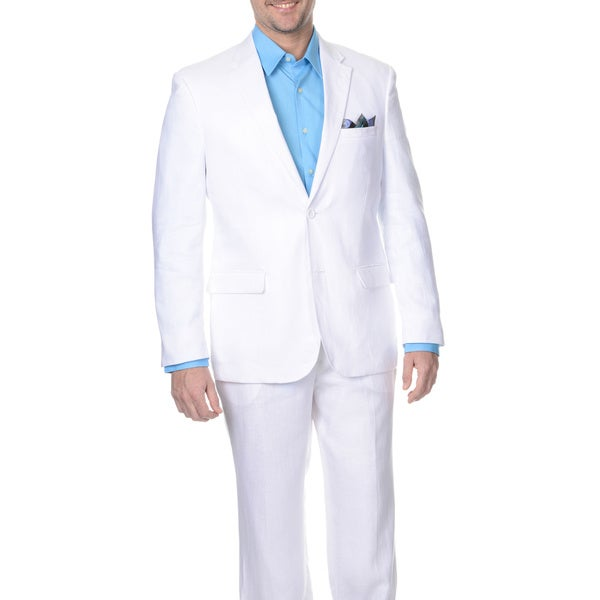 reflections s white 2 button linen suit free