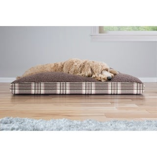 Furhaven Snuggle Terry and Plaid Deluxe Pillow Pet Bed