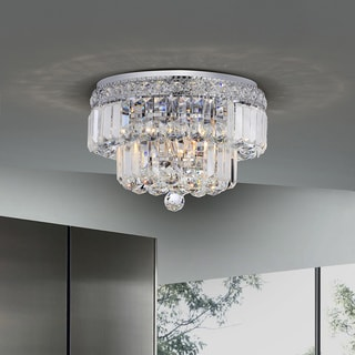 Giselle Chrome Finish Two Tier Crystals Flush Mount Chandelier