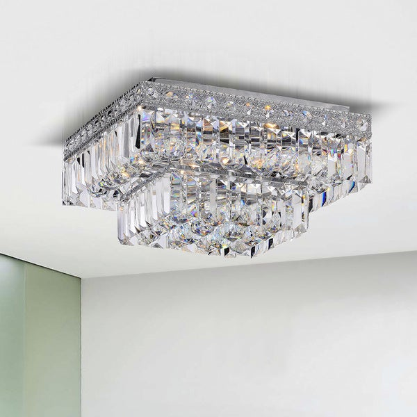 Giselle Chrome Finish 2 tier Crystals Square Flush Mount