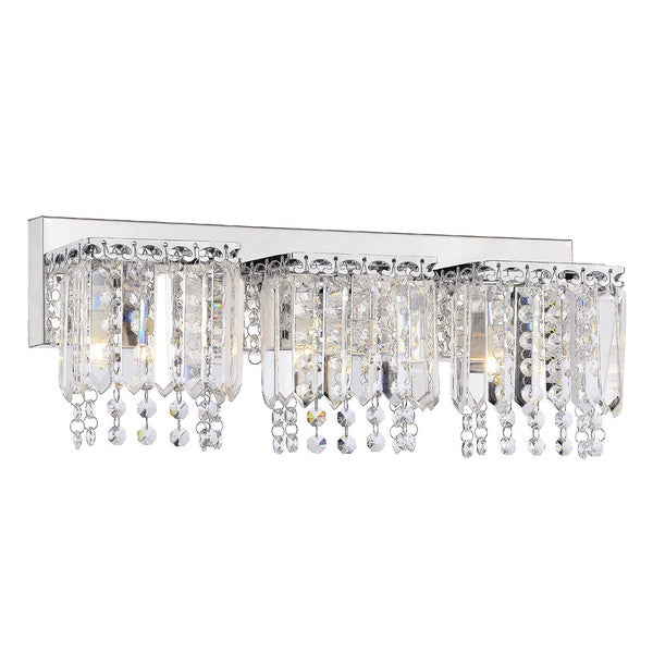evelyn 3-light crystal strand wall sconce in chrome finish - free