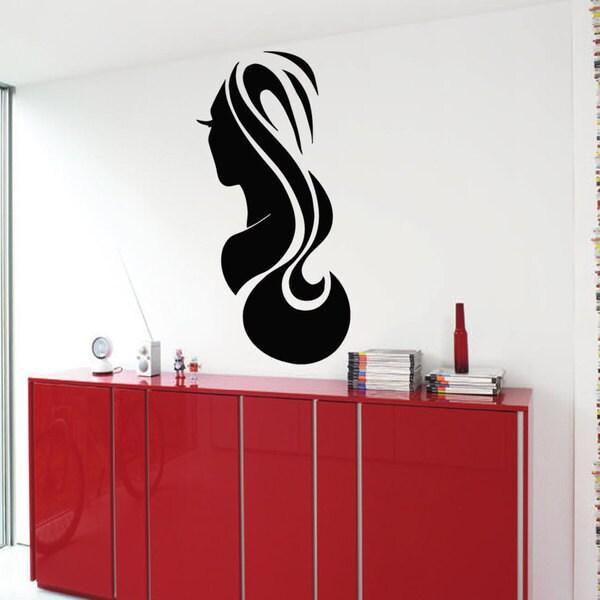 Hair Salon Woman Face Sticker Vinyl Wall Art 15276379