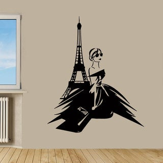Paris Fashion Girl Sticker Vinyl Wall Art
