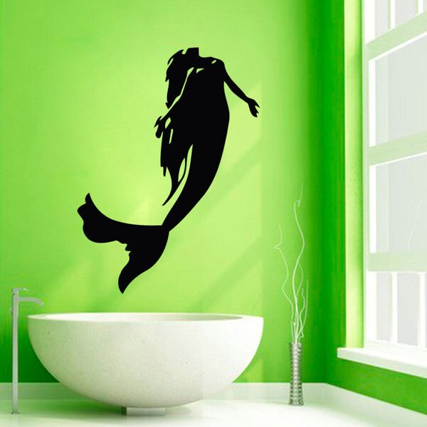 Shop Mermaid Bathroom Decor Sticker Vinyl Wall Art - Free Shipping ...