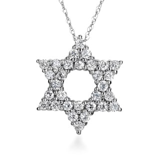SummerRose 14k White Gold 3/4ct TDW Diamond Star of David Necklace ( H-I, SI1-SI2)