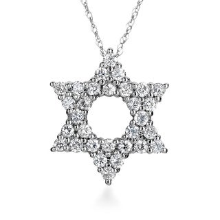 SummerRose 14k White Gold 3/4ct TDW Diamond Star of David Necklace