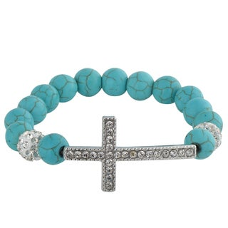 Zodaca Blue Bead Bracelet with Sideways Cross 11.8-inch