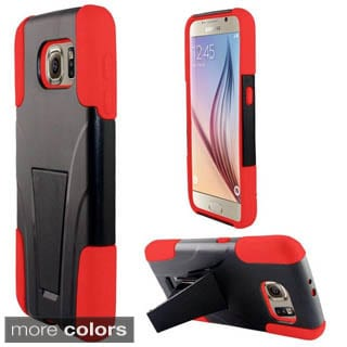 Insten Hard PC/ Silicone Dual Layer Hybrid Phone Case Cover with Stand For Samsung Galaxy S6