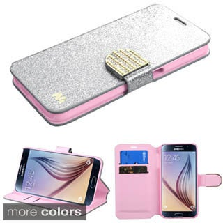 Insten Glitter Leather Wallet Flap Pouch Phone Case Cover with Stand/ Diamond For Samsung Galaxy S6