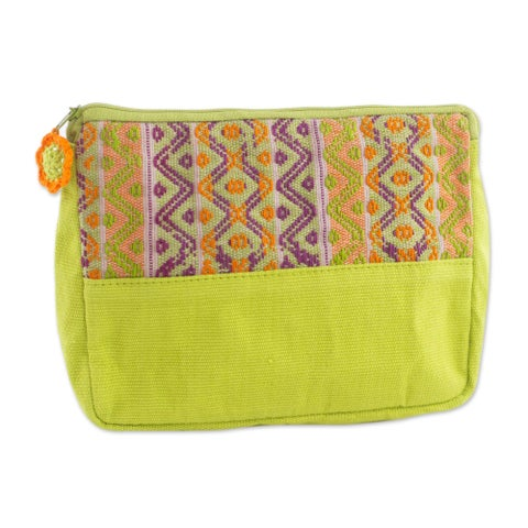Handmade Cotton 'Tropical Whisper' Cosmetic Case (Guatemala)