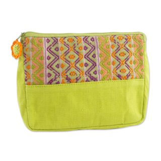 Handcrafted Cotton 'Tropical Whisper' Cosmetic Case (Guatemala)