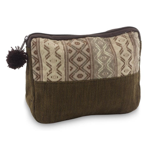 Handmade Cotton 'Earth Whisper' Cosmetic Case (Guatemala)