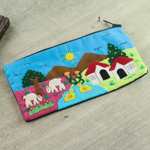 Handmade Cotton Applique 'Andean Morn' Cosmetic Bag (Peru)