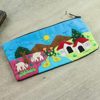 Handmade Cotton Applique 'Andean Morn' Cosmetic Bag (Peru)