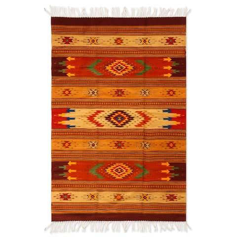 Handmade Zapotec Wool Stellar Magnificence Rug 4 x 7 (Mexico) - 4.2' x 6.5'